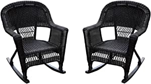 Jeco Set of 2 Wicker Rocker Chairs, Espresso