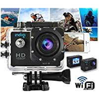 Indigi NEW 4K HD 1080p Waterproof WiFi Outdoor Sports DV Cam Video Recording WiFi Feature - Remote Shutter & View From iPhone Android Phone -