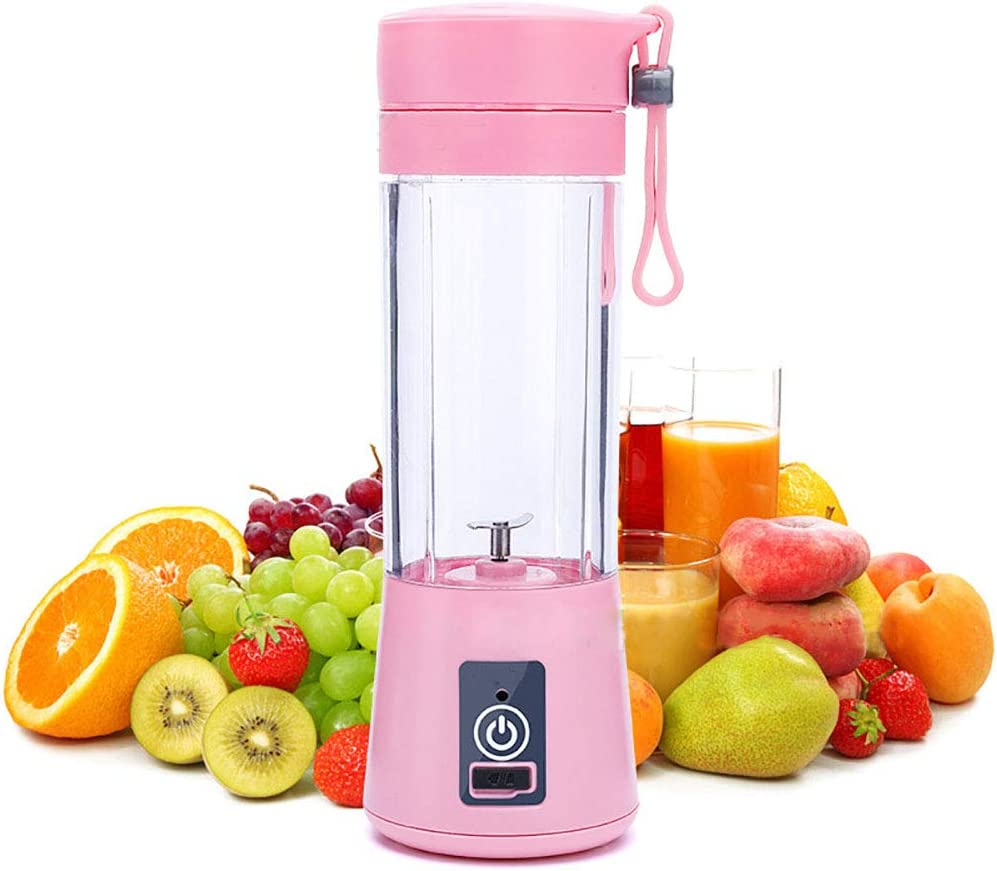 Y-ANN Portable Juicer Blender – 13.5OZ Fruit Juicer Mixer Machine with 1000mAh USB Rechargeable Battery for Personal Travel Household Use 2/4/ 6 Blades Juicer Cup (2 Plastic Blades, Pink)