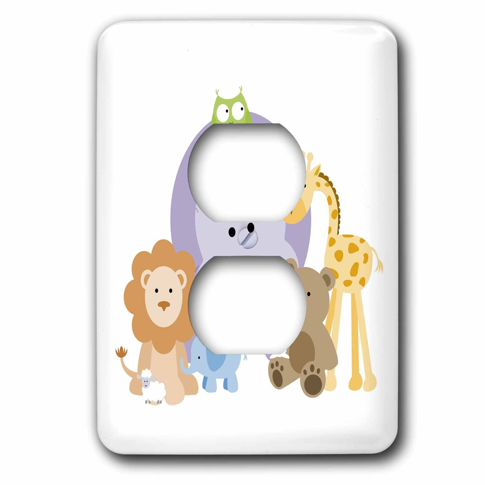 3dRose lsp_224212_6 Family Of Cute Zoo Animals 2 Plug Outlet Cover
