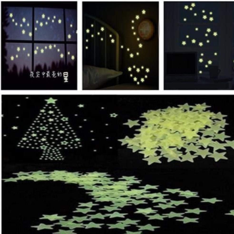 Gamloious 100pcs Bricolage Mode Fun Mur Vert Clair Phosphorescent Autocollants d/étoile de la Chambre denfants
