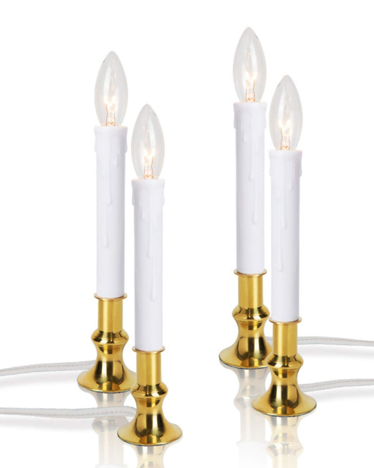 New Ideal Lights Set of 4 Window Candle Electric Daily Timer, Real Brass Base with Extra Weight