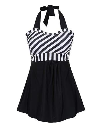 0867f55980b FeelinGirl Women s Retro Sailor Swimming Costume Dress Plus Size One Piece  with Boyshort Bottom (UK