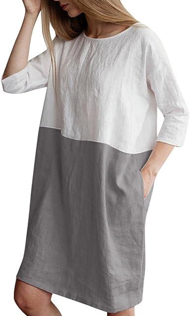 GNYD Vestidos Verano Mujer Largos Tallas Grandes Cortos Fiesta Casual, 1/2 Manga De AlgodóN Lino Bolsillos Sueltos TúNica: Amazon.es: Ropa y accesorios