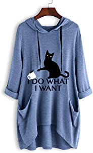 YEMOCILE Women's 3/4 Sleeve I Do What I Want Letter Print Cat and Cup Ear Hoodie Pocket