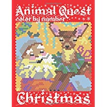 CHRISTMAS ANIMAL QUEST Color by Number: Activity Puzzle Coloring Book for Adults Relaxation & Stress Relief