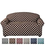 Home Fashion Designs Printed Stretch Loveseat Furniture Cover Slipcover Brenna Collection, Chocolate