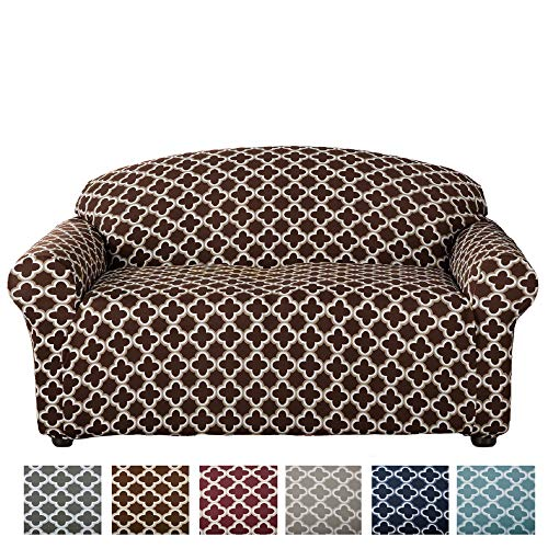 (Home Fashion Designs Form Fit, Slip Resistant, Stylish Furniture Cover/Protector Featuring Lightweight Stretch Twill Fabric. Brenna Collection Basic Strapless Slipcover (Loveseat, Chocolate))