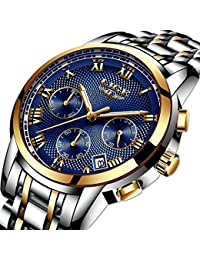 Watches Mens Luxury Steel Band Quartz Analog Wrist Watch...