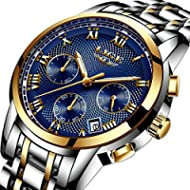 Watches Mens Luxury Steel Band Quartz Analog Wrist Watch with Chronograph Waterproof Date Men's...