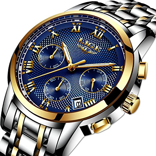 Watches Mens Luxury Steel Band Quartz Analog Wrist Watch with Chronograph Waterproof Date Men's Watch Auto Date,Blue