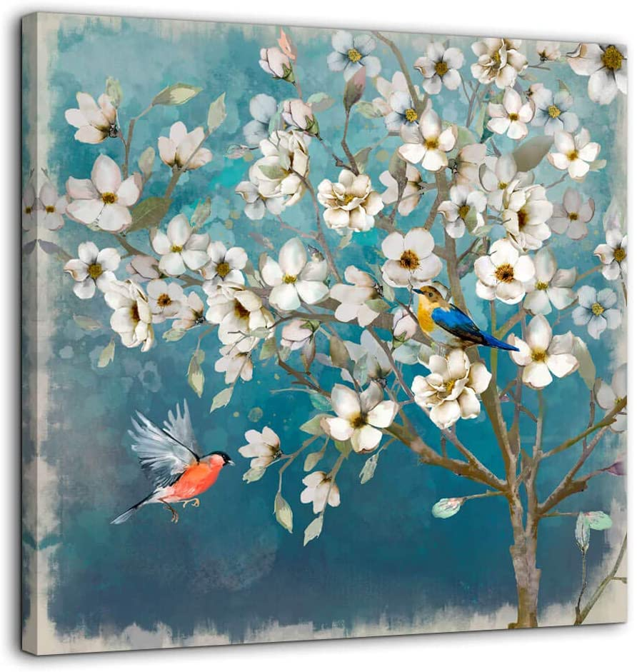 Canvas Wall Art Flower Bird Wall Decor for Living Room Bedroom Bathroom Framed Artwork for Walls Modern Wall Decorations prints picture for Kitchen Home Decor Size 14x14 Painting of White Flowers Tree