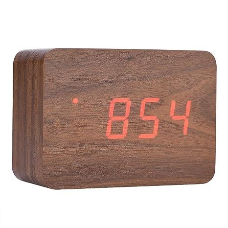 Eboxer Despertador Digital de Madera, Pequeño Reloj Despertador LED Digital con Hora/Fecha /