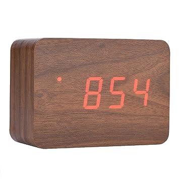 Richer-R Reloj Despertador de Madera Digital Despertador Rectangular Multifuncion,Función de Luces LED/Indicador de Temperatura /3 Alarma,Control de ...