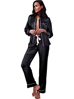Victoria s Secret The Afterhours Satin Pajama Set 2 Piece Set Black Medium  Size Regular Length 0666459a3