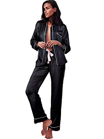 Victorias Secret The Afterhours Satin Pajama Set 2 Piece Set Black Medium Size Regular Length