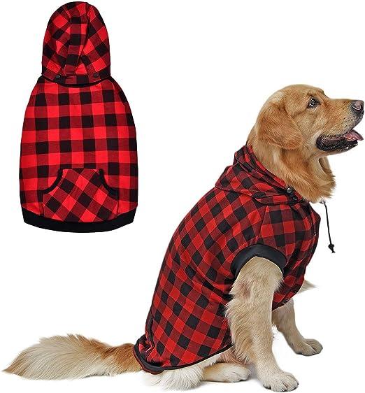 PAWZ Road Perro Camisa a Cuadros Capa Capucha Estilo británico Chaqueta Vestir Mascota Primavera otoño Invierno Ropa Calida para Perrito Pequeños Medianos Grandes Perros Rojo XL: Amazon.es: Productos para mascotas