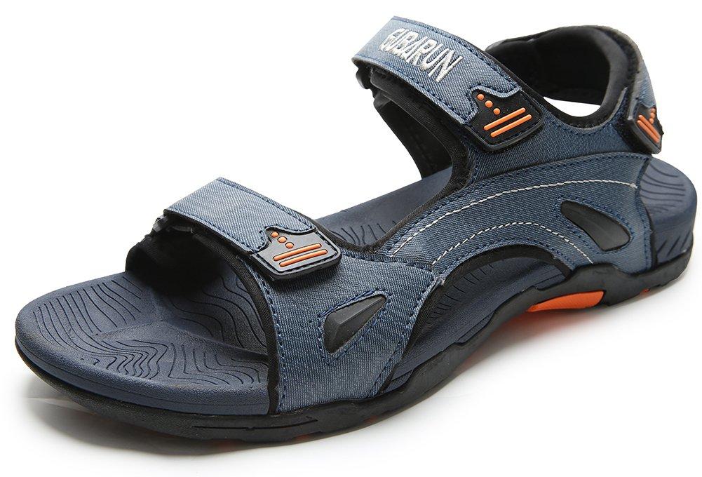 JIAWA Mens Sandals Summer Outdoor Beach Open-Toe Shoes(Dark Blue 9)