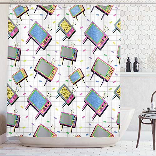Ambesonne Vintage Decor Collection, Funny Retro 80s Memphis Neon Color Tv with Trendy Background Mad Men Decorative Cartoon, Polyester Fabric Bathroom Shower Curtain, 84 Inches Extra Long, Multi -