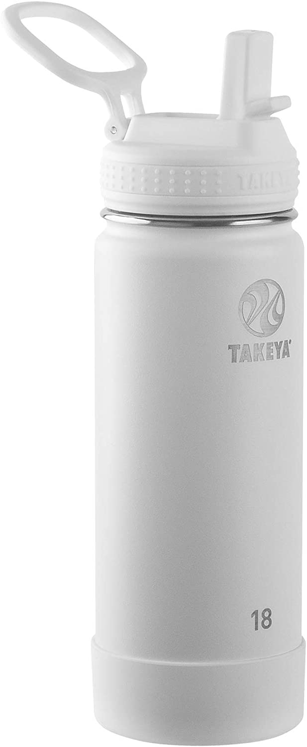 Takeya Actives Insulated Water Bottle w/Straw Lid, Arctic, 18 Ounces