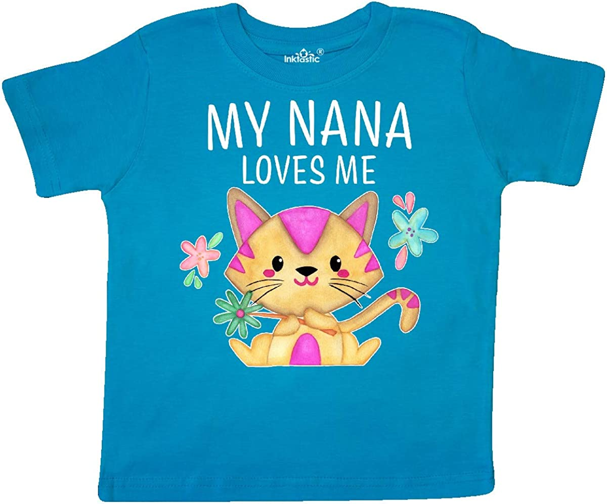 inktastic My Nana Loves Me with Cute Kitten and Flowers Toddler T-Shirt