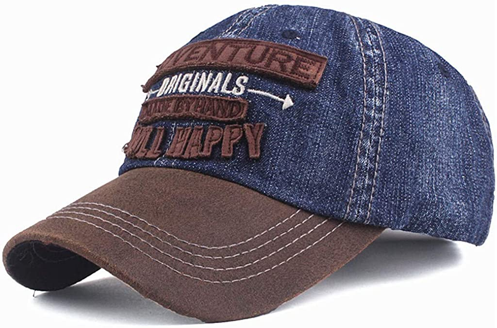 AMhomely Cap,Berets,Visor Originals Smile Happy Letter Embroidered Denim Baseball Cap Tide Wild Casual Embroidered Cap