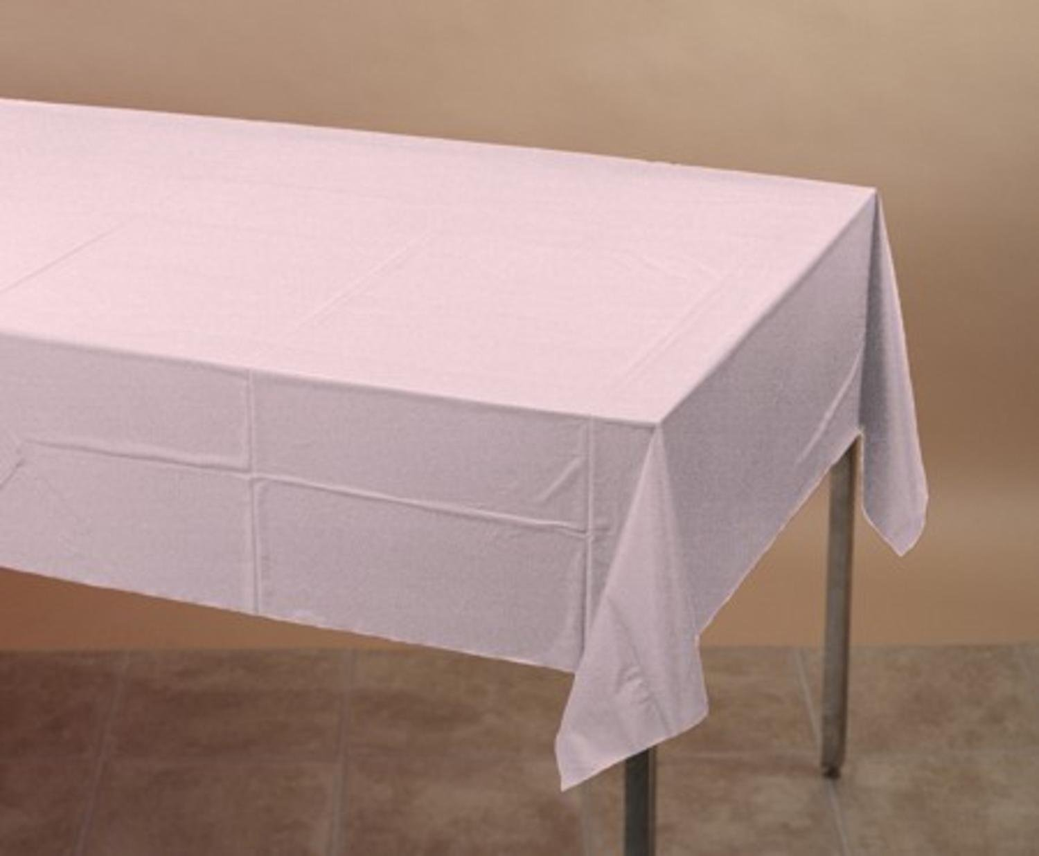 Pack of 24 Classic Pink Disposable Plastic Banquet Party Table Cloth Covers 108'' by Party Central