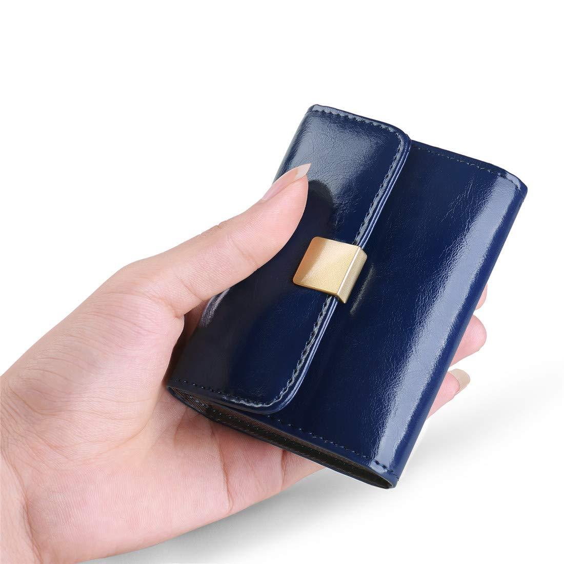 Huztencor Women's RFID Blocking Small Credit Card Holder Multi Card Case Wallet Mini Purse Compact Accordion Wallet for Women Ladies Slim Cute Little Front Pocket Wallets Organizer Oil Wax Blue