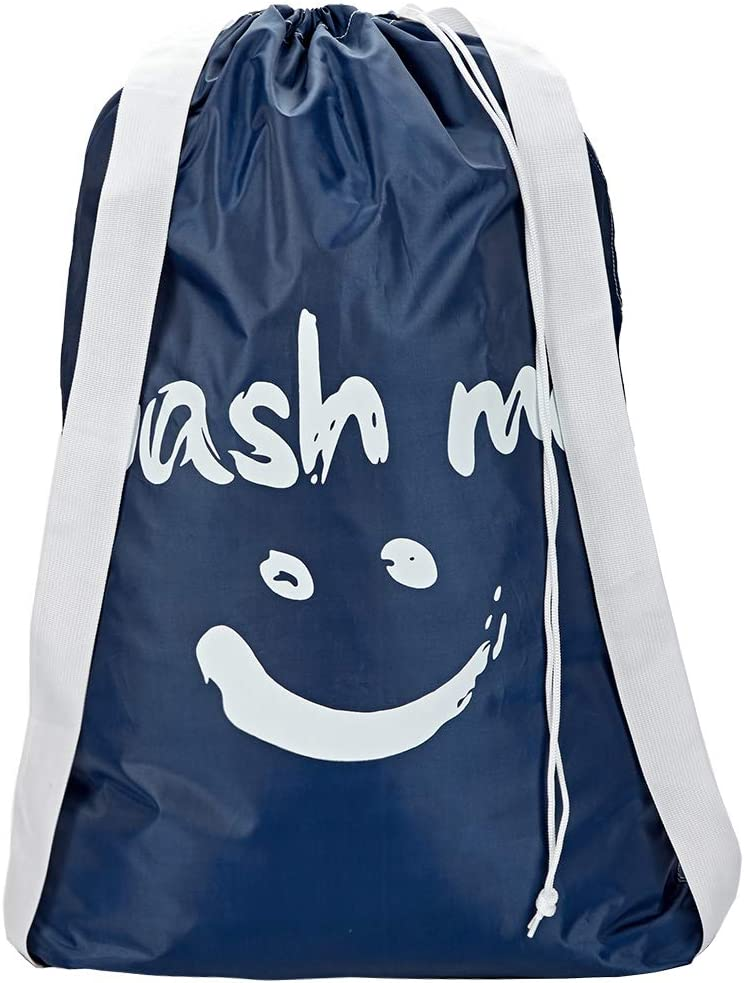 HOMEST Wash Me Laundry Bag with 2 Shoulder Straps, Machine Washable Nylon Large Dirty Clothes Organizer for Camp, Fits Laundry Hamper or Basket, Blue