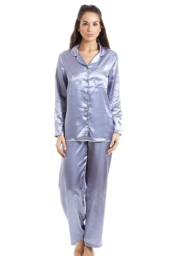 Camille Womens Silver Satin Full Length Pyjama Set  Camille  Amazon.co.uk   Clothing 613f3d115