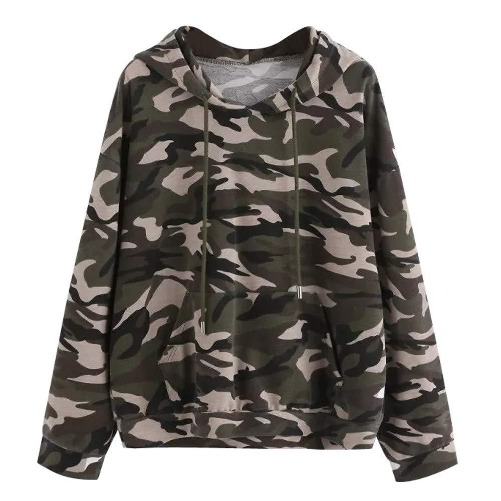 YANG-YI 2018 Hot Womens Long Sleeve Camouflage Sweatshirt Casual Blouse Pullover