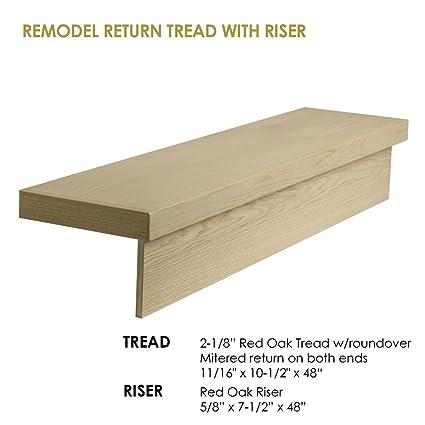 48″ Modern RetroFit Return Tread Kit for Used in Stair remodeling