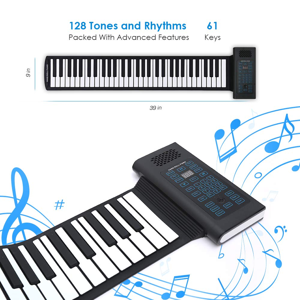 Roll Up Piano Folding Portable Keyboard | 61Keys | Music Gifts for Women Men Girl Boys Kids | Educational Toys Gift Set | Digital Beginner Piano by Igloo Essentials