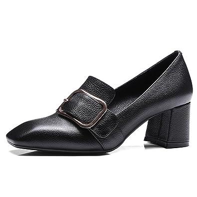 c1b8fb282ee Nine Seven Genuine Leather Women's Square Toe Chunky Heel Handmade Comfort  Pumps Shoes