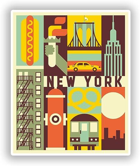 2 x New York Vinyl Stickers Travel Luggage #10729