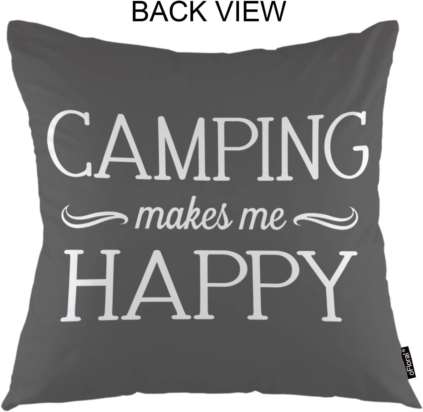 Ofloral Movatational Quote Throw Pillow Covers Camping Makes Me Happy Calligraphy Letter Decorative Square Pillow Case 18 X18 Pillowcase Home Decor For For Sofa Bedroom Livingroom Home Kitchen