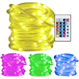 Ustellar RGB 33ft 100LED Rope Lights, Waterproof Color Changing With Remote Control, 8 Brightness Levels/Timer, Battery Powered (Not Included) Fairy String Lights for DIY, Decoration