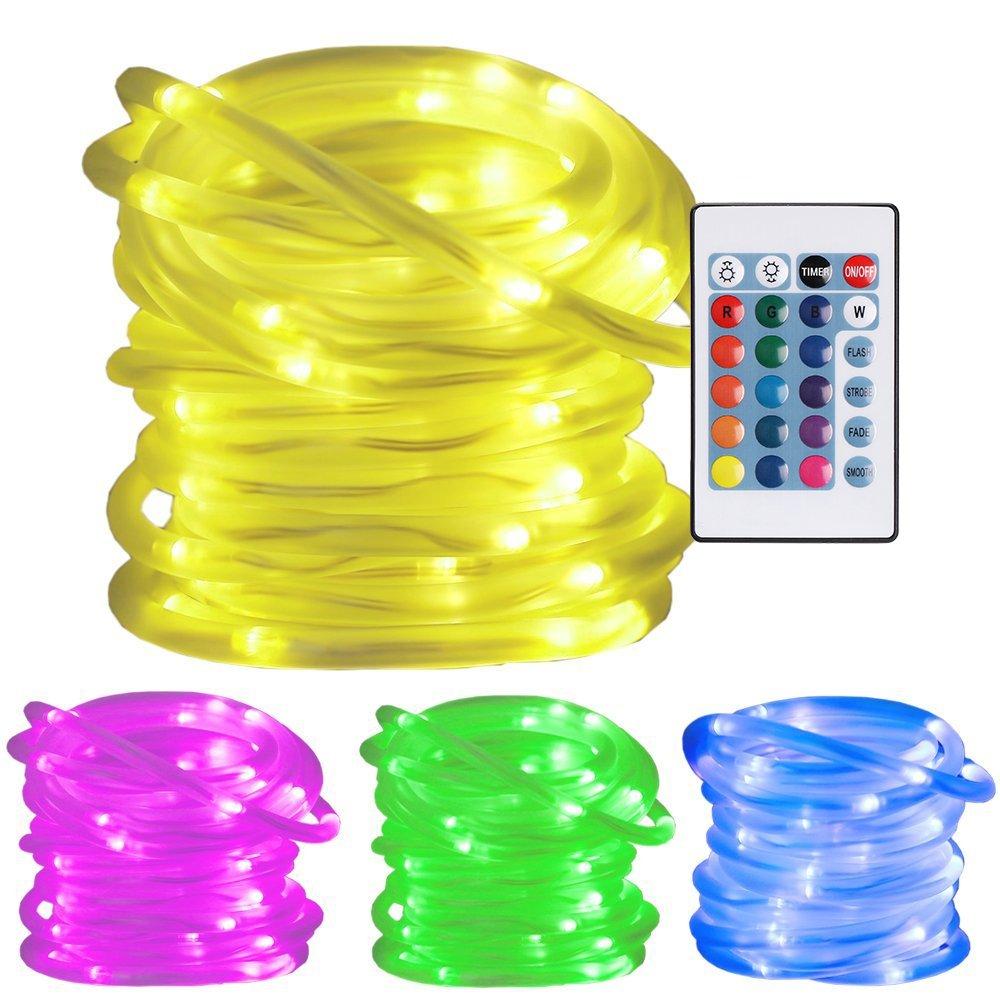 Ustellar RGB 10m LED Lichterschlauch mit Fernbedienung Timer, 100LED Lichtschlauch , Wasserfest IP65 Lichterkette , 8 Helligkeit 4 Leuchtmodi 16 Farben , Memory-Funktion , Farbewechsel Batteriebetrieben (nicht enthält) Dekolicht für Außen Innen Weihnachten