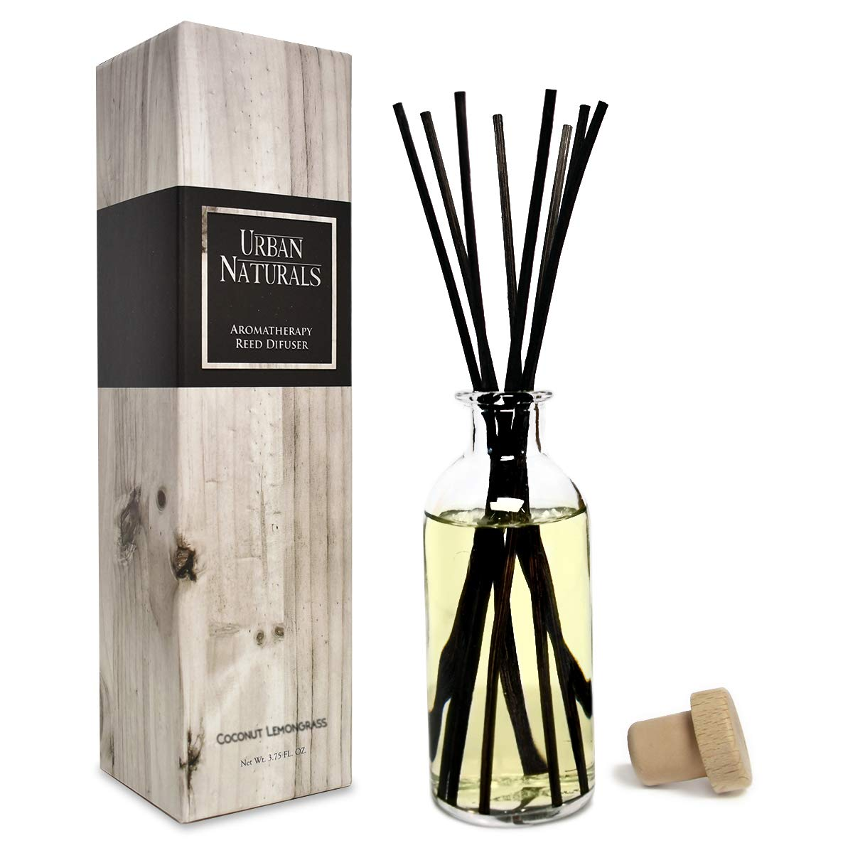 Urban Naturals Coconut Lemongrass Home Fragrance Reed Diffuser Oil Set | Tropical Blend of Lemongrass, Fresh Limes & Sweet Coconut Milk | Great Home Gift Idea! Vegan. Made in The USA
