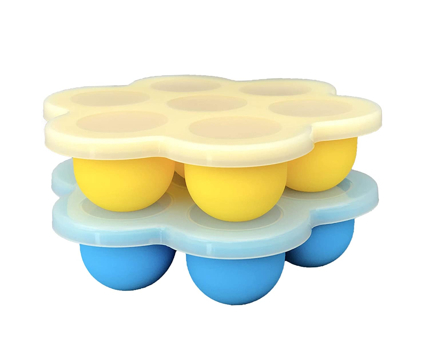 2-PACK Instant Pot Egg Bites Silicone Mold Accessories for Mini 3 Quart, 5, 6 qt Pressure Cooker - BPA Free Molds for Fat Bombs, Sous Vide Egg Bite, Baby Food Freezer Trays 1oz portions (Blue/Yellow)