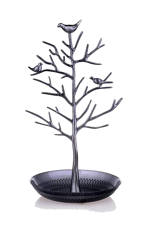 DoubleBlack Espositore per gioielli, a forma di albero con uccelli BWB