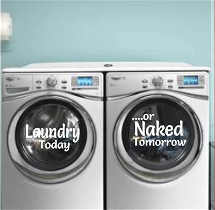 Washer and Dryer Decals Laundry Room Decor Laundry Today Naked Tomorrow Vinyl Decal Washer Decal Dryer Decal Laundry Decal Dirty Laundry Removable Laundry Decals for Laundry Room