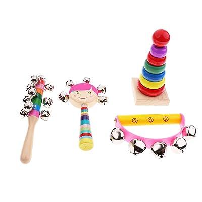 B Blesiya Instruments de Musique Jouet en Bois Cadeaux Accessoires de Sport pour Nouveau-nés - 4 pièces