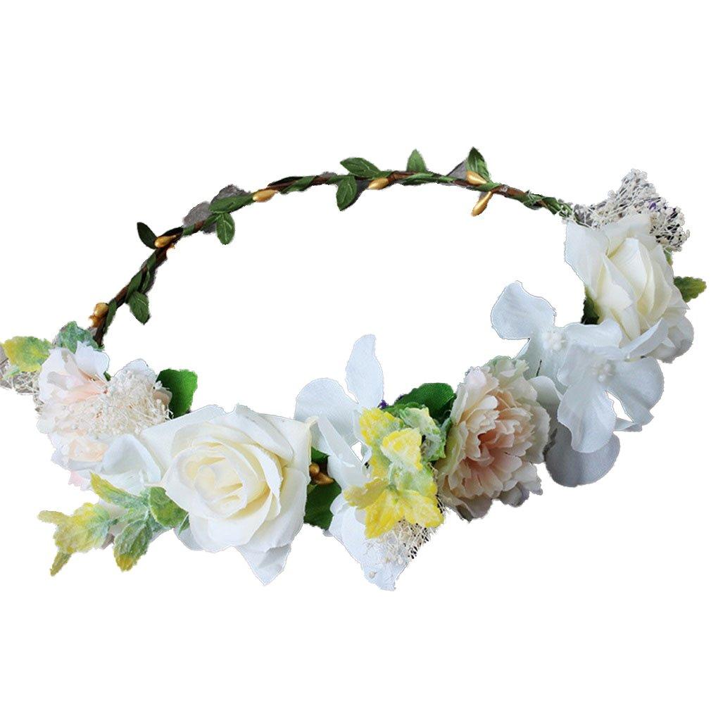 YAZILIND Bride Rose Flower Wreath Headdress Wedding Bridal Floral Crown Garland Beach Headband Photo Props YAZILIND JEWELRY LTD 1702T0205/CA
