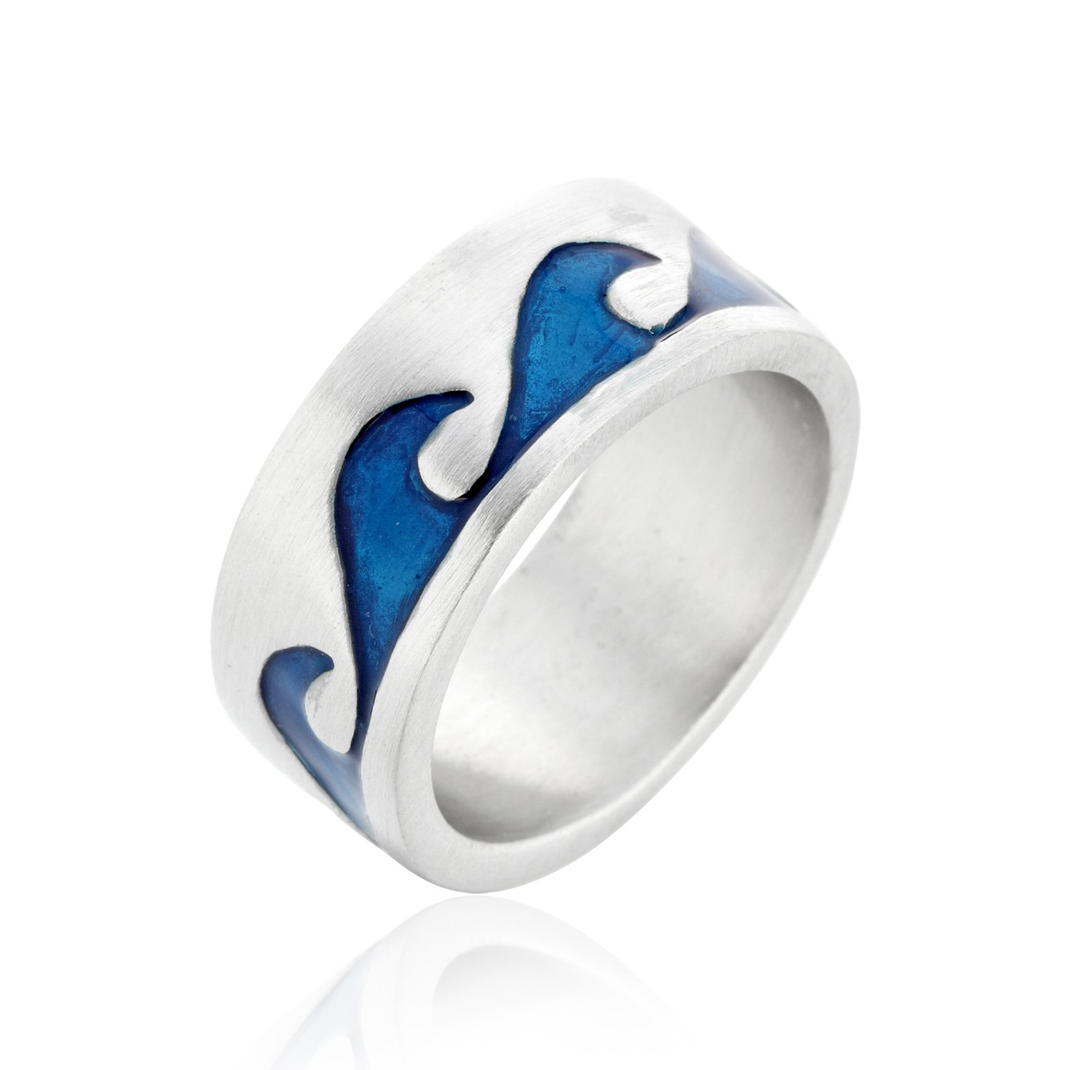 Blue Wave Waves Ocean Surfer Surfing Surf Ring, Fine Pewter Jewelry, Size 10