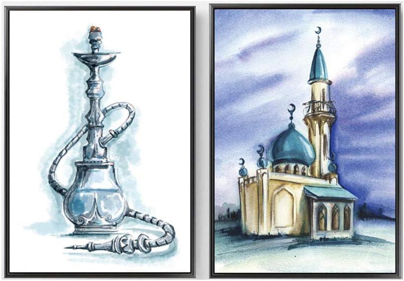 Shisha Mezquita IsláMica Poster Acuarela Edificio Pintura NóRdico Pared Arte Cuadros MusulmáN De La Lona Impresiones para Salon Inicio Decoracion 50x70cmx2 No Marco