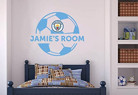 Manchester city football club official ball personalised name sticker decal mural 120cm