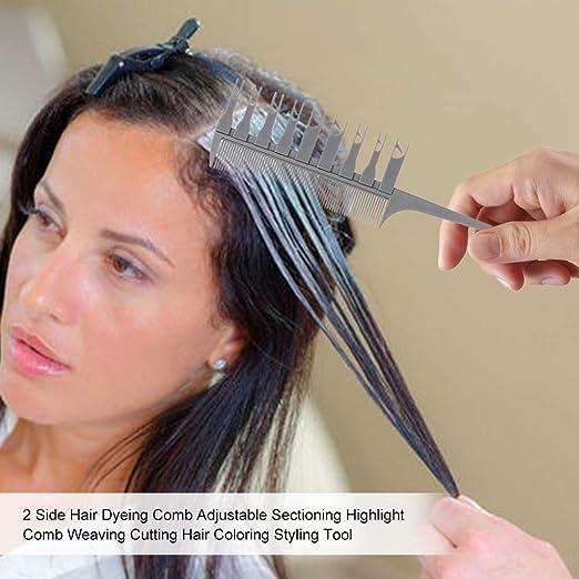 Calayu Peine de mechas, profesional, para teñir el cabello, corte ajustable, 2 lados
