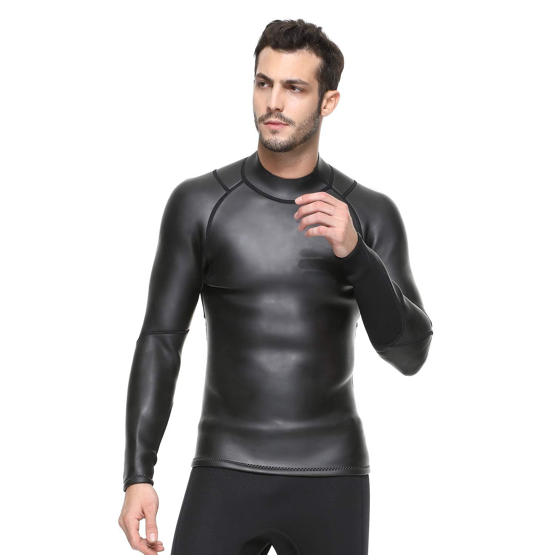 3MMライトレザーダイビングスーツ男性スプリット長袖スクラッチスーツシュノーケリング暖かい冬の水着,M  Medium