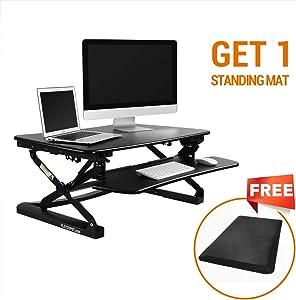 FlexiSpot Desktop Workstation Combo, 35 Standing Desk Riser with Free Anti-Fatigue Comfort Kitchen Floor Mat-Black